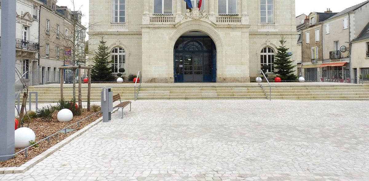 pavé trapeze place mairie ancenis 44 calminia pierre naturelle vente fabricant