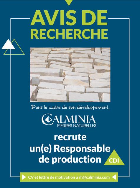 Annonce recrutement responsable de production_Calminia